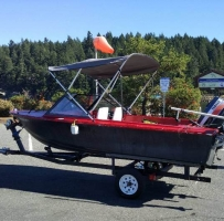 15 feet fiberglass boat,40HP Yamaha,5HP Honda and registered trailer
